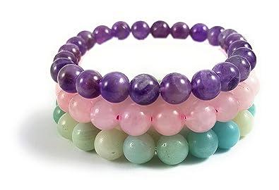 meilleur service 5745a d8f36 Garaulion Bracelets Pierres Naturelles, 3 Bracelets Perles par Pack, Pack  Libido, Pack Sommeil, Pack Bien être, Pack Zen Anti Stress