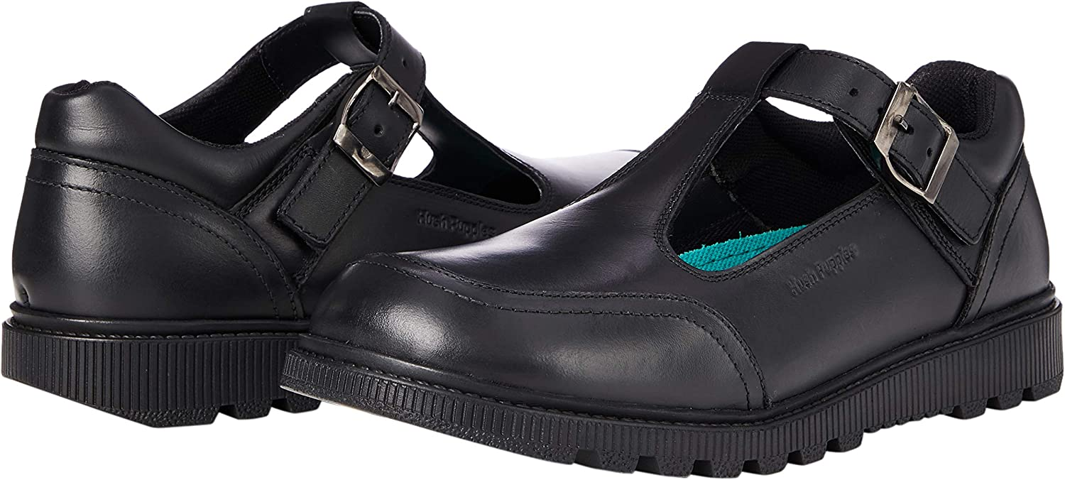 Hush Puppies KERRY SNR Girls Casual Smart Leather Buckle Shoes Patent Black
