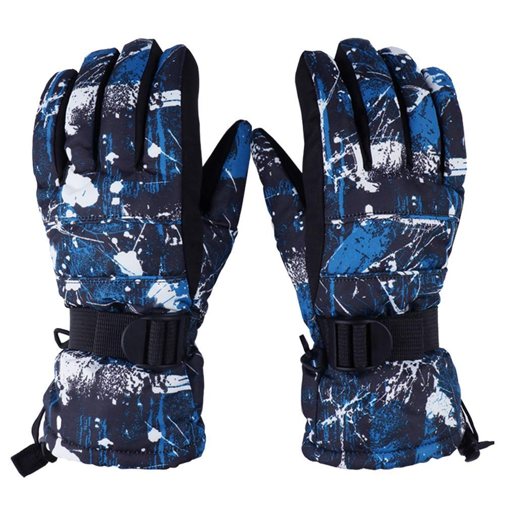 AsDlg Mens Mountaineering Warm Gloves, Ski Gloves, Outdoor Windproof Waterproof Breathable Anti-Slip for Skiing, Hiking, Camping, Cycling, Running (Size : S)