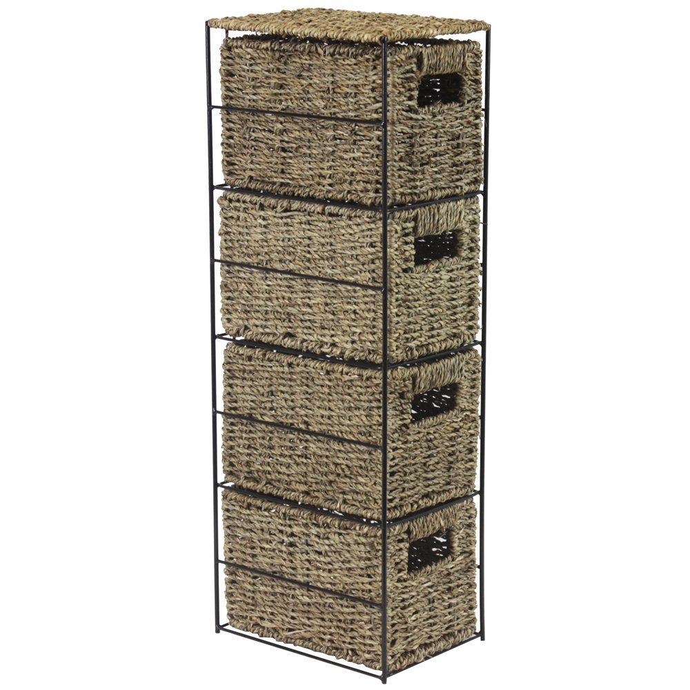 JVL Seagrass 4 Drawer Tower Storage Basket Unit with Metal Frame