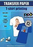 10 x Papel de transferencia de tinta A4 para camisetas de blancas y claras-10 hojas