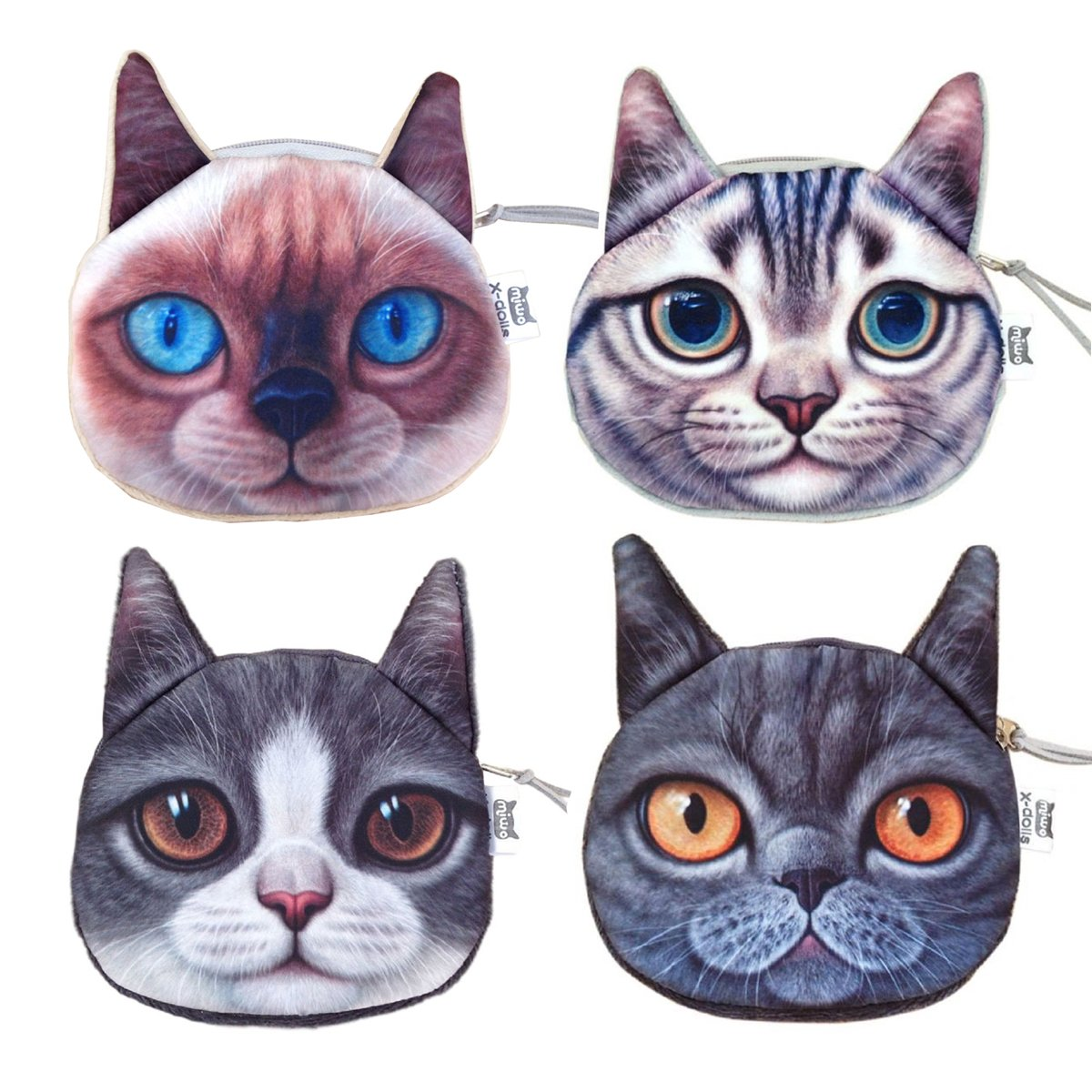 Ai-life Set of 4 Pack 3D Lifelike Cute Cat Face Zipper Bag Coin Case Money Plush Purse Wallet Bag Pouch Handbag
