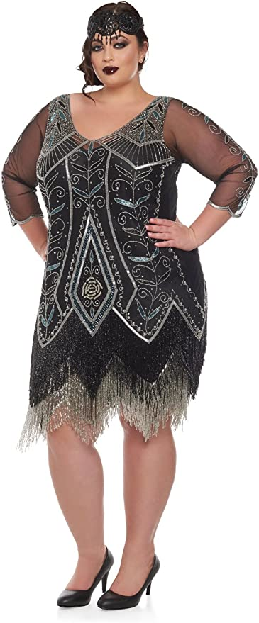 1920s Plus Size Flapper Dresses, Gatsby Dresses, Flapper Costumes gatsbylady london Scarlet Vintage Inspired Fringe Flapper Dress in Black Silver £165.00 AT vintagedancer.com