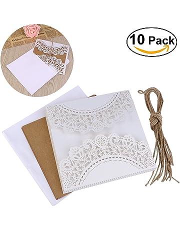 95952b9e4 ULTNICE 10pcs hueco decorativo invitación felicitación tarjeta con sobre de  encaje para bodas cumpleaños compromiso fiesta