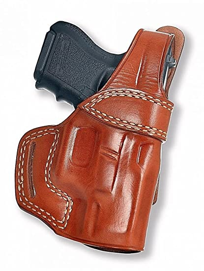 Premium Leather OWB Belt Holster with Thumb Break Fits, Glock 17 19 21 29  30 34 36 37 20 38 26 41 42, Right Hand Draw, Brown Color