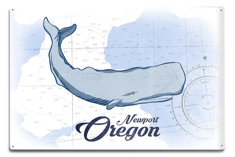 Coastal Icon 36x54 Giclee Gallery Print, Wall Decor Travel Poster Blue Oregon Whale Newport