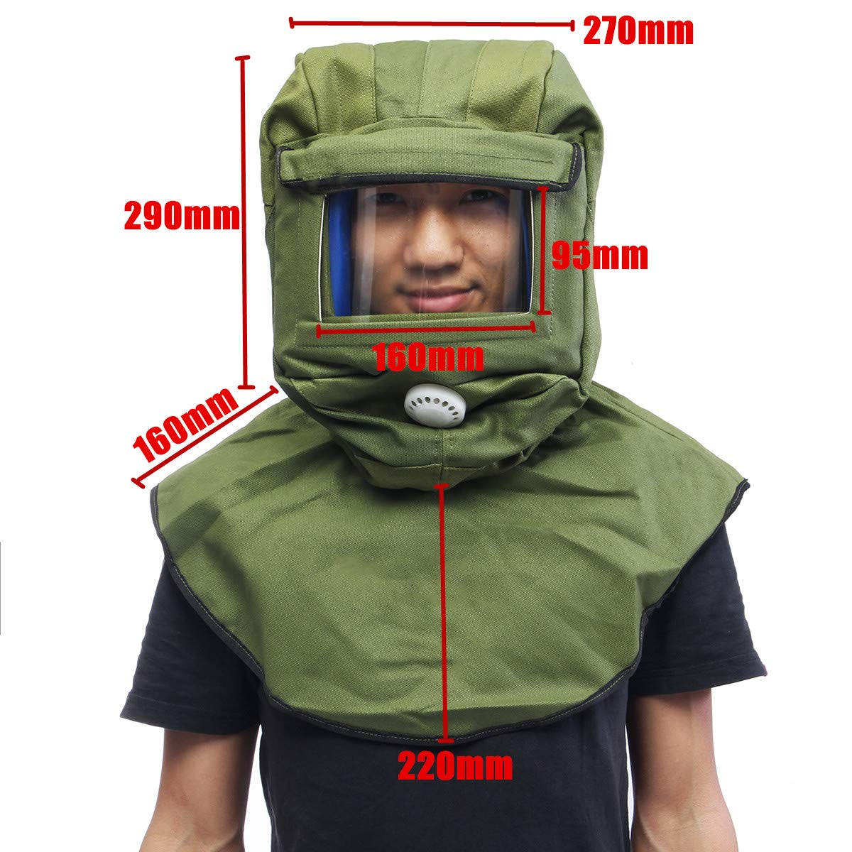 Canvas Sand Blasting Hood Cap Face Mask Anti-dust Equipment - Breathable Light Weight Comfortable 29x27x22cm (Green)