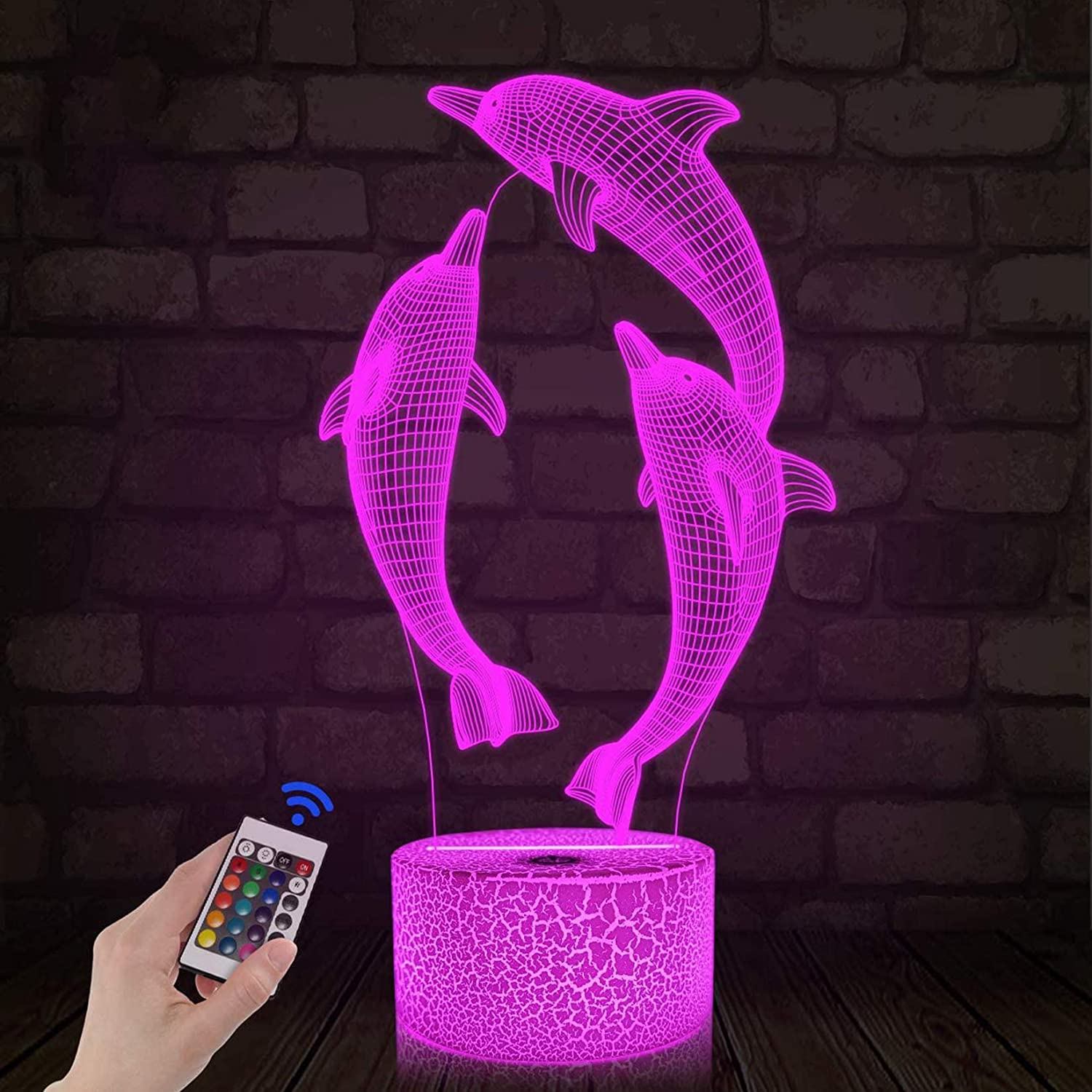 Night Light for Kids Dolphin 3D Night Light Porpoise Illusion Lamp with Remote Control 16 Color Changing Xmas Halloween Birthday Gift for Child Baby Girl