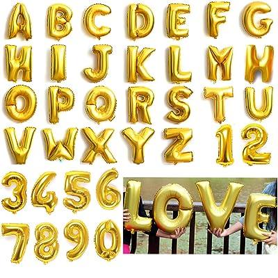 Ballons gonflables en forme de lettres de l'alphabet et de chiffres - En aluminium - 40,6 cm - Pour fêtes, mariage - Pour écrire des noms, doré, Letter I