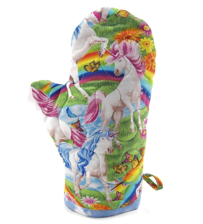 Unicorns and Rainbows Oven Mitt - Insulated Pot Holder - Cotton Fabric