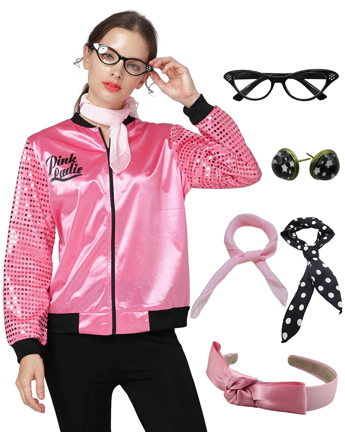 1950s Pink Ladies Satin Jacket Sequin Sleeve with Scarf Halloween Costume Outfit