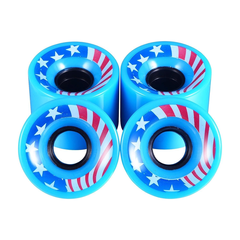 A Set of 4 Pro skateboard wheels 60mm 78A Blank Multi Color 4 pcs