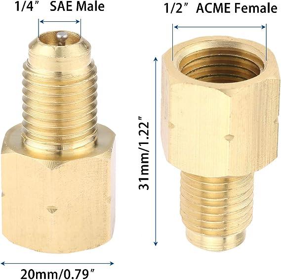 "4x1//2/"" ACME /& 1//4/"" SAE refrigerant tank adapter vacuum pump adapter AC connector"
