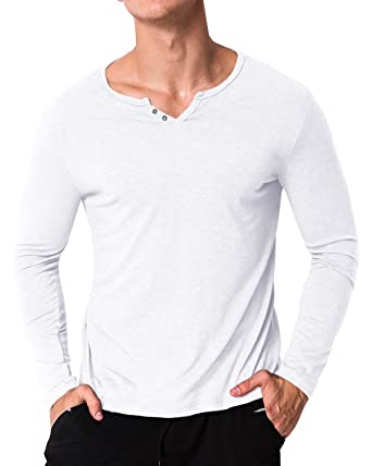 c1bb01af8 MODCHOK Men's Long-Sleeved V-Neck T-Shirt Basic Cotton Plain - White - M:  Amazon.co.uk: Clothing