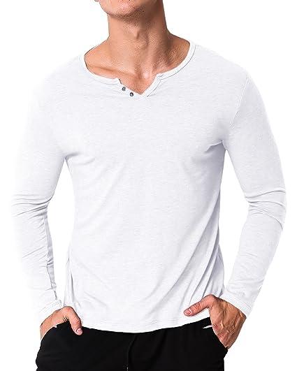 c64488e8b86 MODCHOK Homme T-Shirt Manche Longue Col V Top Tee Pull Basic Coton Couleur  Unie