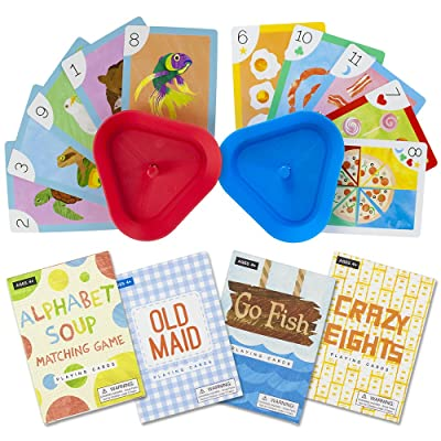 Imagination Generation Set of 4 Classic Children's Card Games with 2 Hands-Free Playing Card Holders – Includes Old Maid, Go Fish!, Crazy Eights, & Alphabet Soup Matching Game: Toys & Games