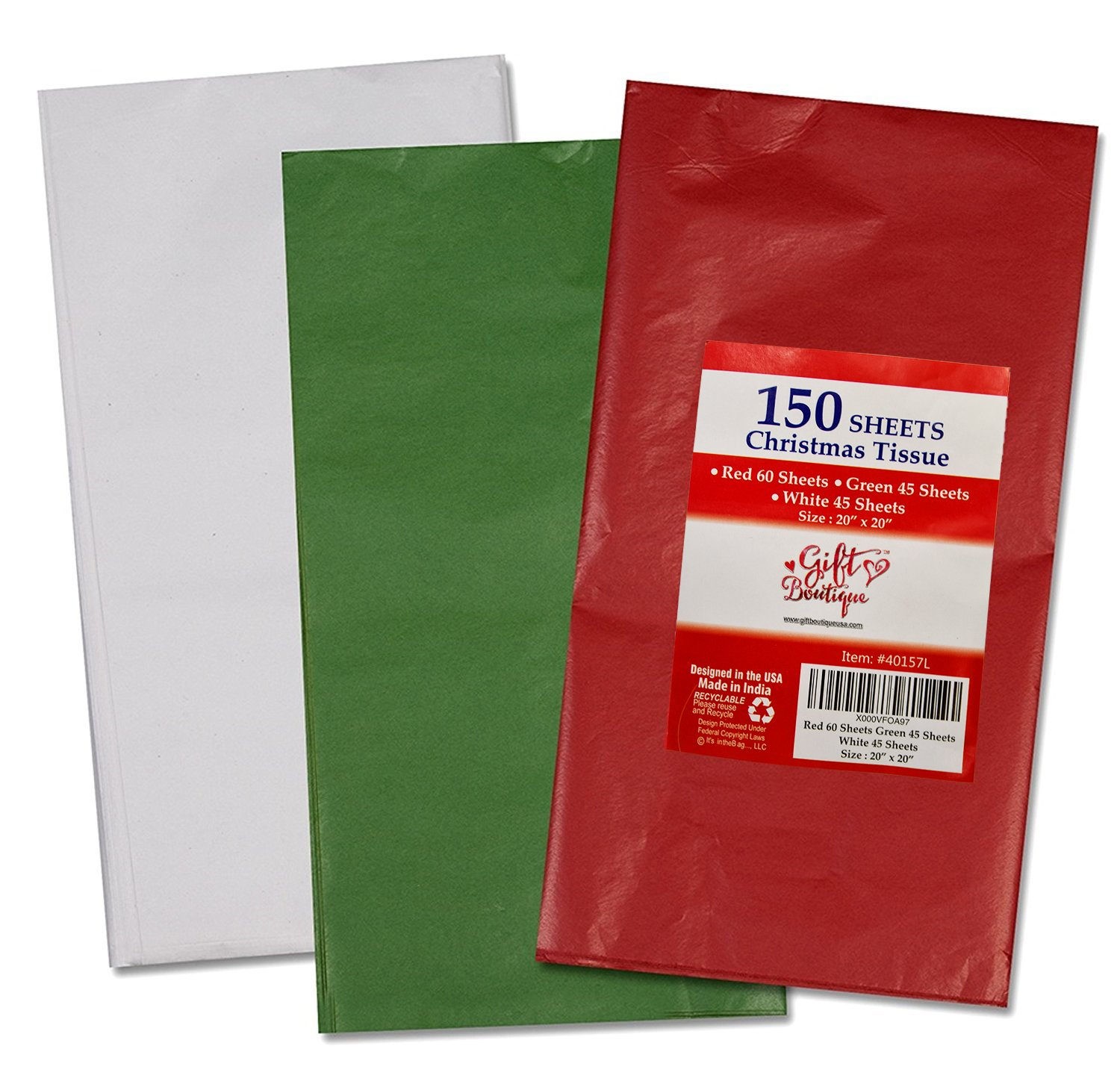 """150 Christmas Tissue Paper Assortment; 60 Red, 45 Green & 45 White; 20"""" X 20"""" by Gift Boutique"""