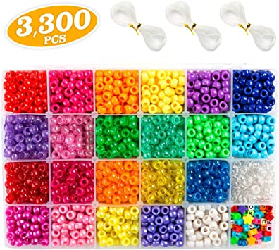 opaque various colours acrylic pony beads 100-3000 pcs 9 x 6 mm