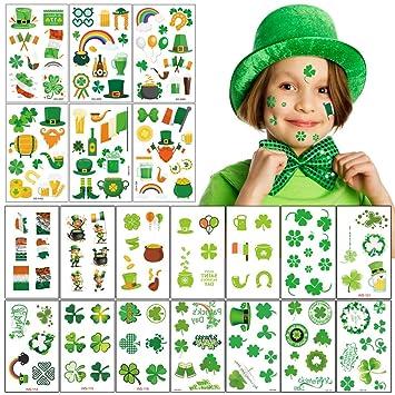 158pcs San Patricio tatuaje pegatinas 20 hojas trébol irlandés ...