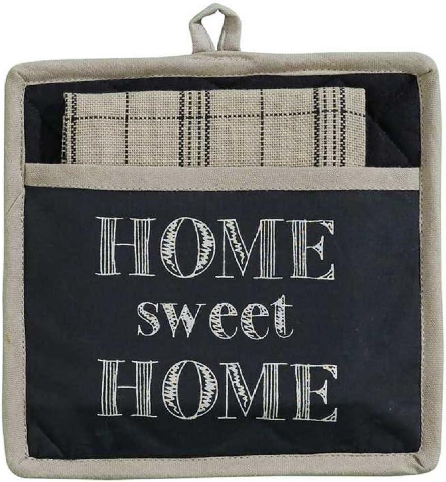 Park Designs Home Sweet Home Pocket Printed Cotton Kitchen Linens Potholder Set