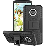 Newlike Hybrid Armor Back Cover Case with Kickstand Wheel Pattern for Motorola Moto G6(Black)