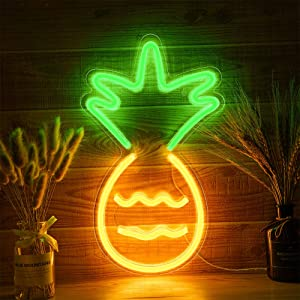 Pineapple Neon Light, Festival Light Sign Wall Decor Art Neon Light for Home Decoration, Bedroom, Lounge, Office, Wedding, Christmas, Valentine's Day Operated by USB