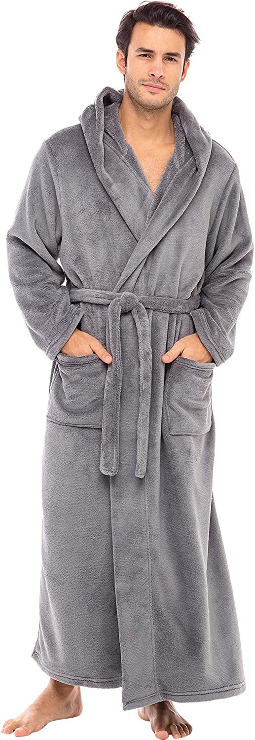 Alexander Del Rossa Men's Warm Flannel Fleece Robe with Hood, Big and Tall Bathrobe at  Men's Clothing store