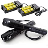 LED Flashlight 2 Pack Tactical T6 Zoomable Waterproof Torch 5 Modes with 18650 Rechargeable