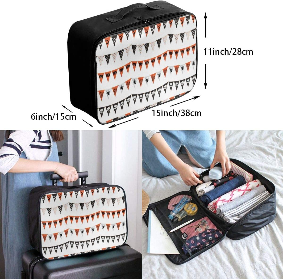 Yunshm Halloween Bunting Vector Image Customized Trolley Handbag Waterproof Unisex Large Capacity For Business Travel Storage