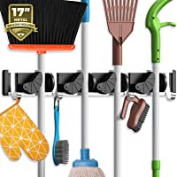 Holikme Mop Broom Holder Wall Mount Metal Pantry Organization and Storage Garden Kitchen Tool Organizer Wall Hanger for…