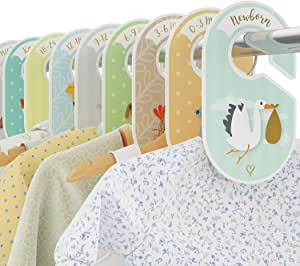Baby Closet Dividers - 18 wardrobe organisers/hangers - Arrange clothes by garment type or age - Baby shower gift set for boys and girls - Woodland/Safari/Farm animal theme - Cozy Hedgehog