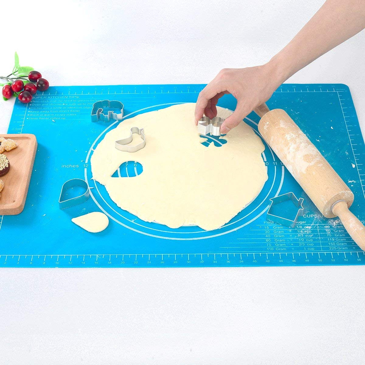 Scelet Non-Stick Silicone Baking Mat Heat Resistance Pastry Rolling Dough Placemat Board Reusable