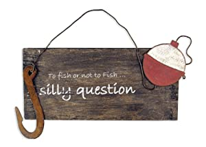 Sunset Vista Designs To Fish or Not to Fish Sign, 10 by 7-Inch