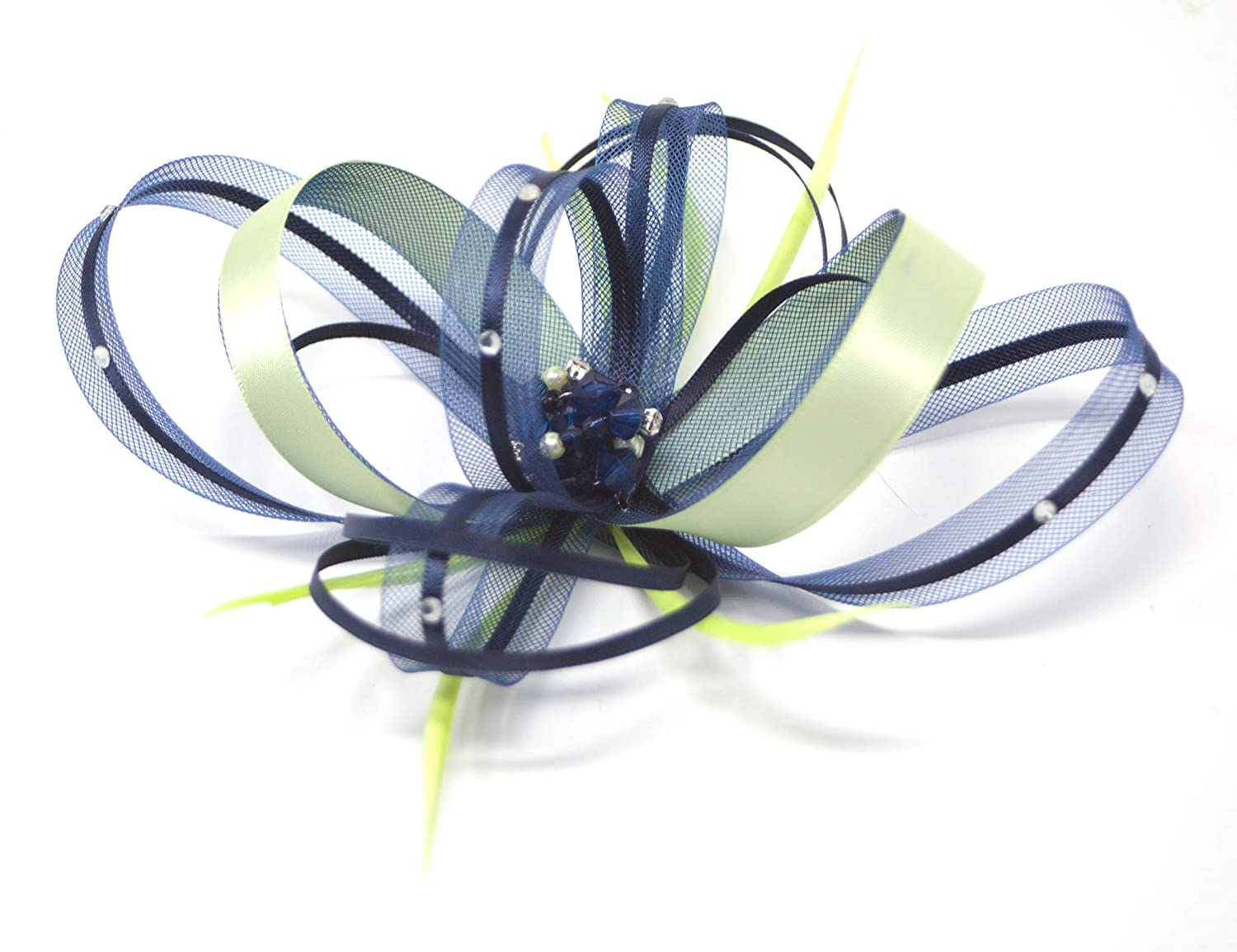 Alice band or  clip. New shimmering silver fascinator with diamante/' on comb