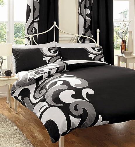 BLACK WHITE U0026 GREY PRINTED DOUBLE DUVET COVER BED SET