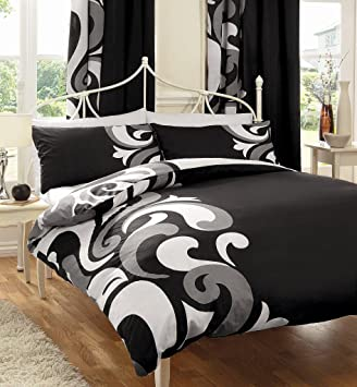 BLACK WHITE & GREY BOLD PRINT DOUBLE BED SET WITH MATCHING ...