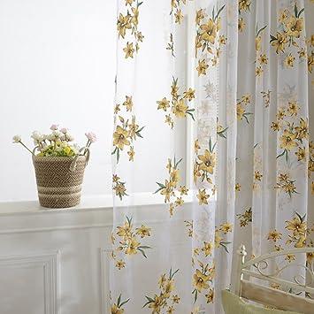 Norbi Fresh Floral Print Tulle Voile Door Window Rom Curtain Drape Panel Sheer Scarf Valances ( & Amazon.com: Norbi Fresh Floral Print Tulle Voile Door Window Rom ... Pezcame.Com