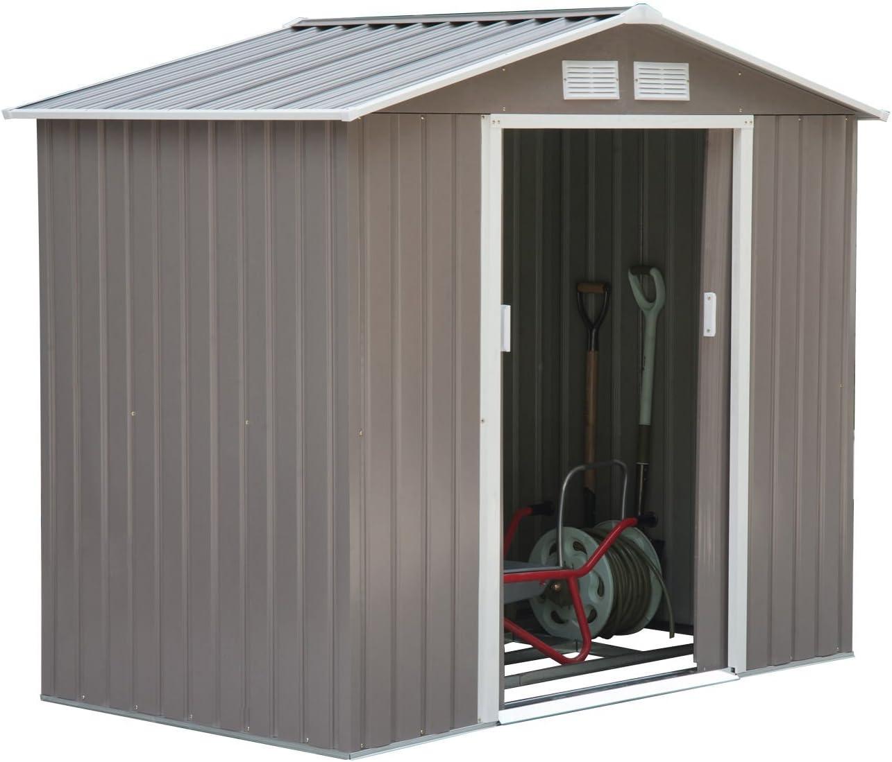 1-Door Garden Galvanized Steel Flat Garden Tool Storage Tool Shed Outdoor