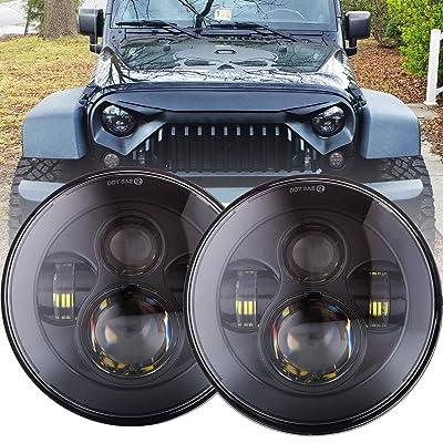 DOT Approved 90W 7 Inch Round LED Headlight High Low Beam for Jeep Wrangler 97-2020 JK TJ LJ JKU Rubicon Sahara Hummer H1 H2 Toyota Land Cruiser Dodge Dakota 2 PCS Black: Automotive