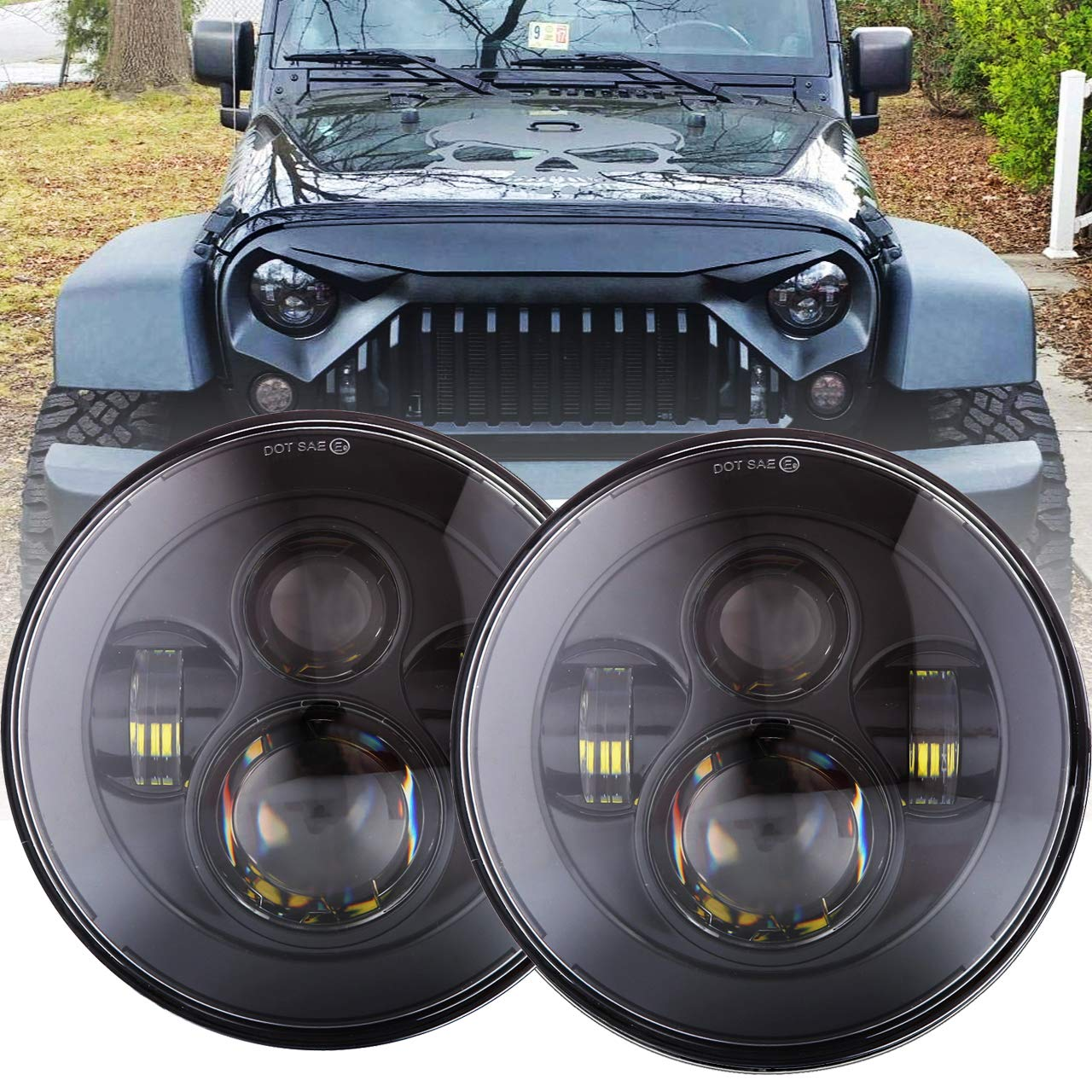 DOT Approved 90W 7 Inch Round LED Headlight High Low Beam for Jeep Wrangler 97-2017 JK TJ LJ JKU Rubicon Sahara Hummer H1 H2 Toyota Land Cruiser Dodge Dakota 2 PCS Black by BICYACO