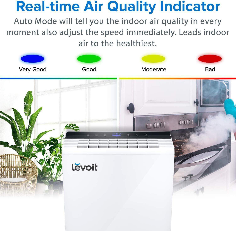 Levoit Purificador de Aire con Filtro HEPA y Carbón Activado, Hasta 55m², 5 Modos y 3 Niveles, Temporizador, Indicador de Calidad de Aire, Captura Alergia, Polvo ...