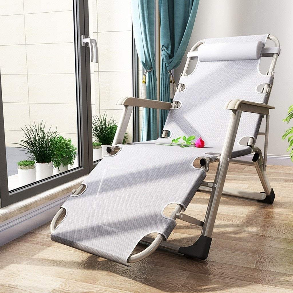 Siesta bed chair Folding Lounge Chair Lunch Break Siesta Chair Office Bed Backrest Lazy Beach Chair Casual Household Multifunction Folding deck chair (Color : E) A