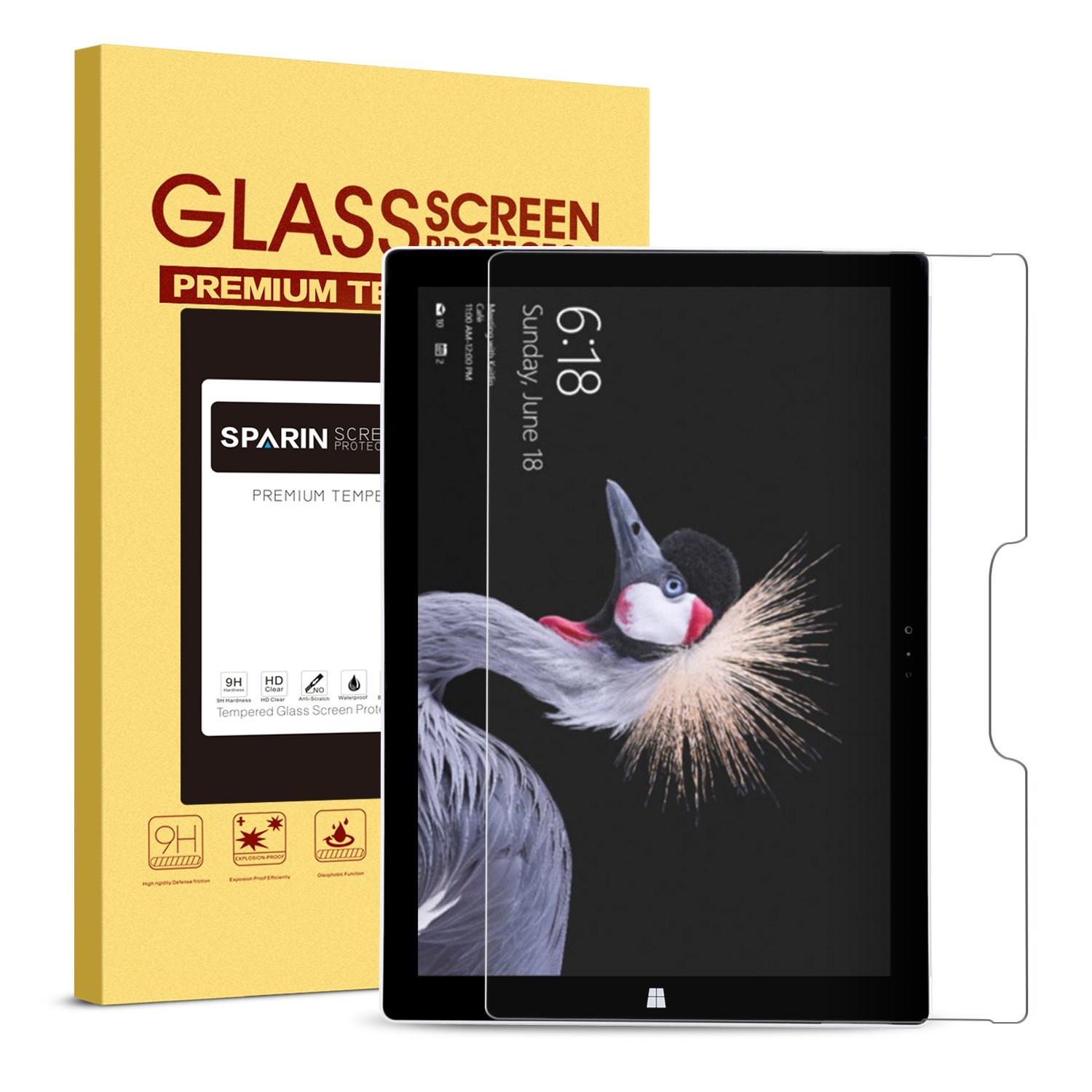 SPARIN New Surface Pro/Surface Pro 4 Screen Protector, Tempered Glass Screen Protector - Maintaining Touchscreen's Responsiveness/Easy Installation / 2.5D Round Edge/Scratch Resistant