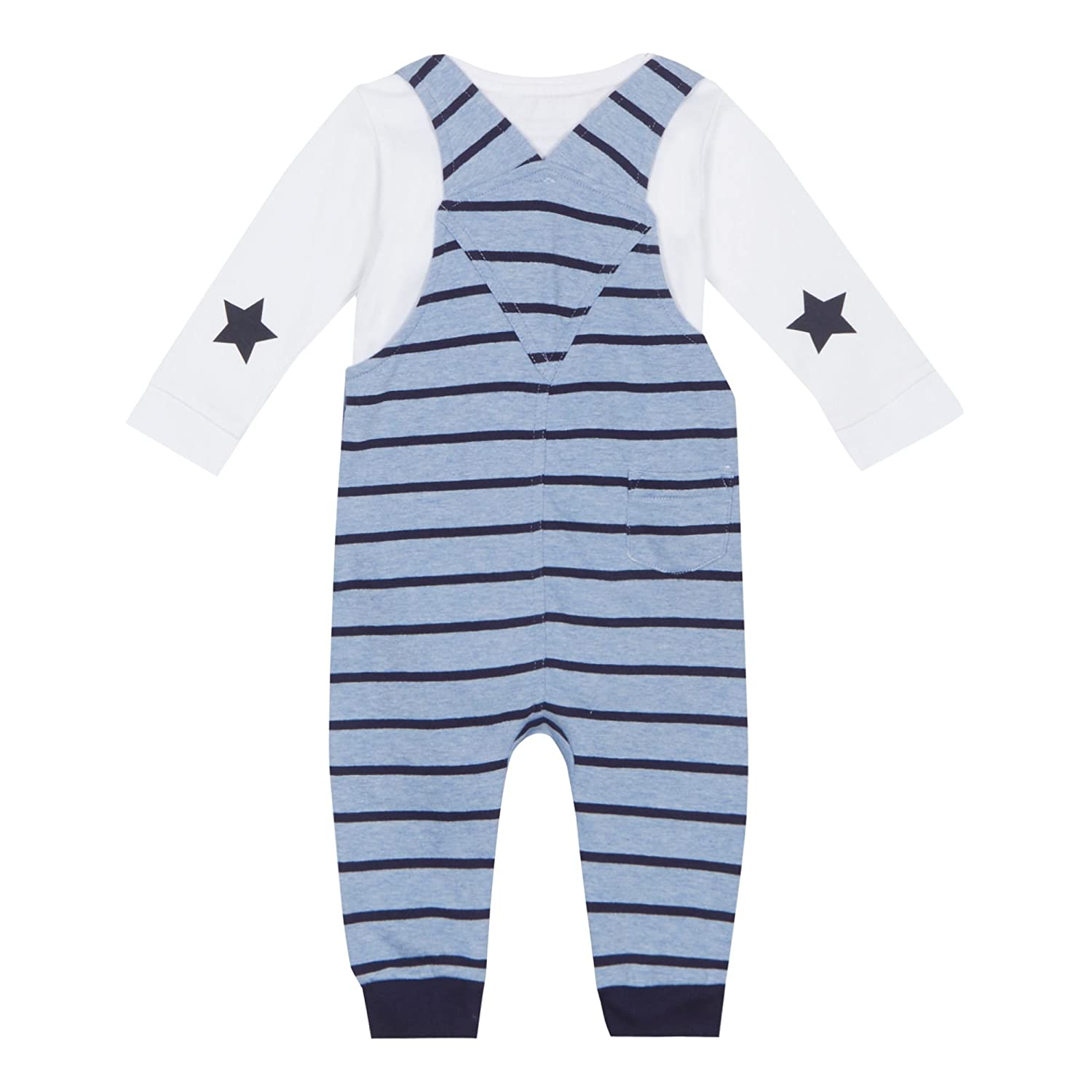 6cd4ecc38808 Baby Boys Blue Dinosaur Town Applique Dungarees and White Long Sleeve  Bodysuit Set 18-24 Months bluezoo