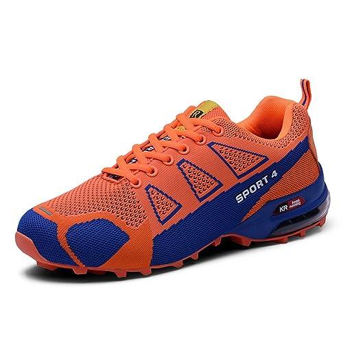 Zapatillas Deporte Hombre Mujer Zapatos para Correr Athletic Cordones Air Cushion Running Sports Sneakers Negro Azul Rojo Naranja Verde 38-46 EU: Amazon.es: ...
