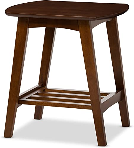 Baxton Studio Sacramento Mid-Century Modern Scandinavian Style End Table, Dark Walnut