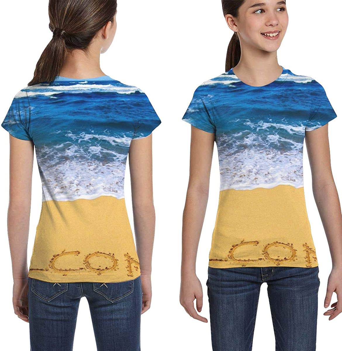 Fashion Tunic Shirt Dress XS-XL L6Nv4o@A Girls Short Sleeve Beach Theme Welcome T-Shirts
