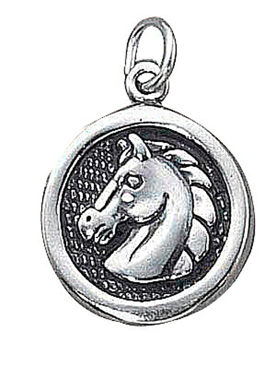 Sterling Silver Girls .8mm Box Chain Round Medallion Horse Pendant Necklace