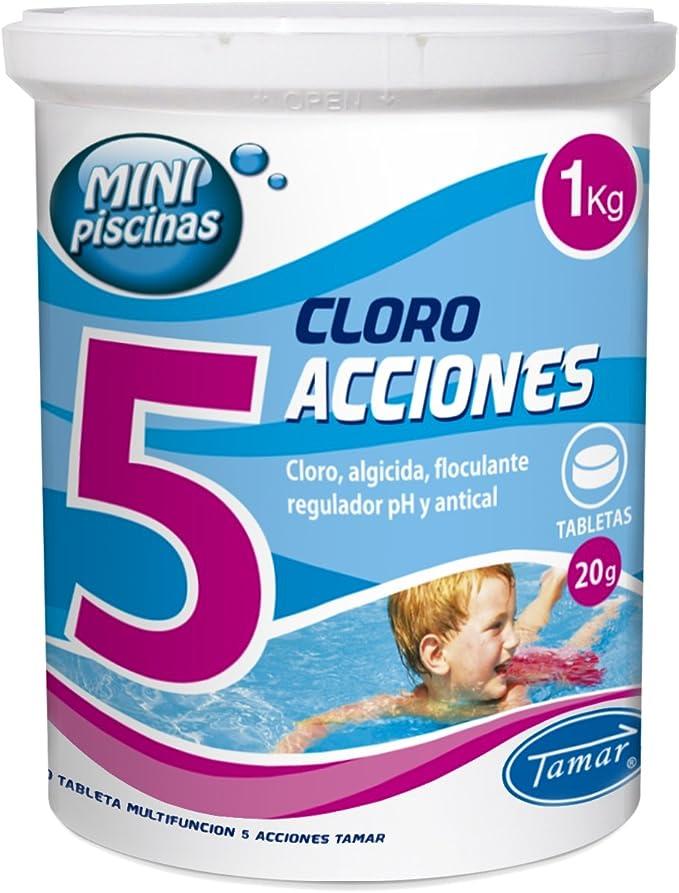 Tamar - Cloro 5 Acciones, Tabletas Multifuncion de 20 grs, Especial para Mini Piscinas, Bote de 1 Kilo.: Amazon.es: Jardín