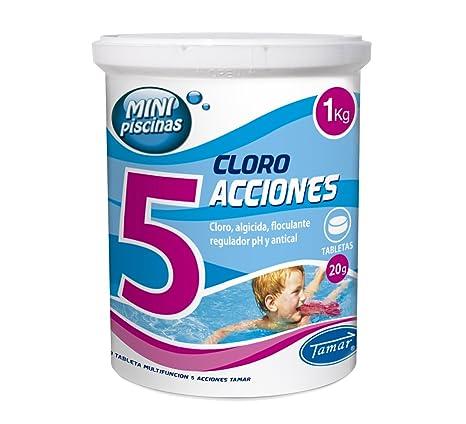 Tamar - Cloro 5 Acciones, Tabletas Multifuncion de 20 grs, Especial para Mini Piscinas, Bote de 1 Kilo.